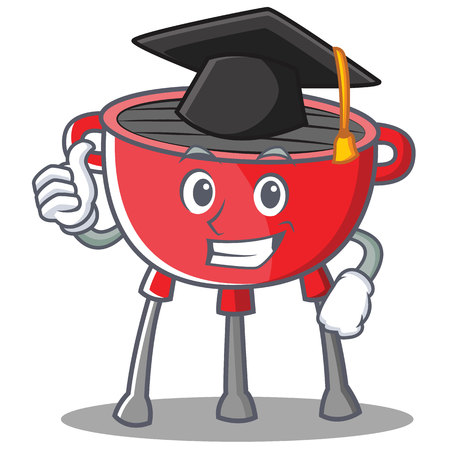 Graduation barbecue grill cartoon character vector illustration. Illustration