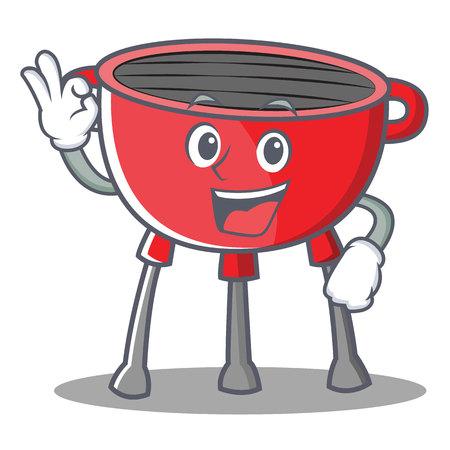 Okay barbecue grill cartoon character vector illustration.