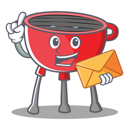 With Envelope barbecue grill cartoon character vector illustration.