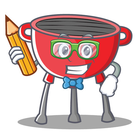 Student barbecue grill cartoon character vector illustration.