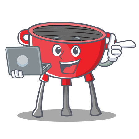 Barbecue Grill Cartoon Character with laptop Vector Illustration