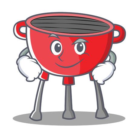 Smirking Barbecue Grill Cartoon Character Vector Illustration