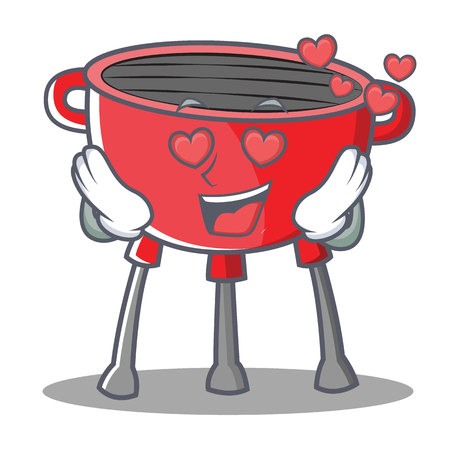 In Love Barbecue Grill Cartoon Character Vector Illustration Illustration