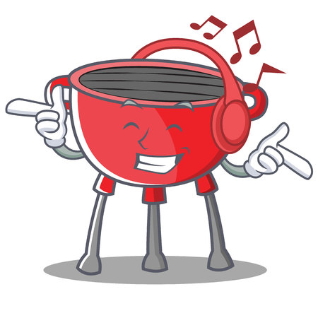 Listening Music Barbecue Grill Cartoon Character Vector Illustration