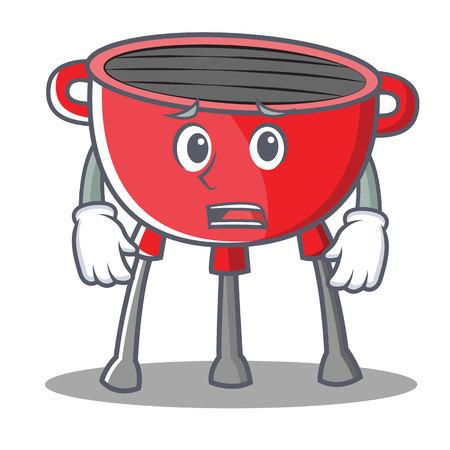 Afraid Barbecue Grill Cartoon Character Vector Illustration