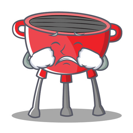 Crying Barbecue Grill Cartoon Character Vector Illustration