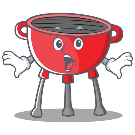 Surprised Barbecue Grill Cartoon Character Vector Illustration