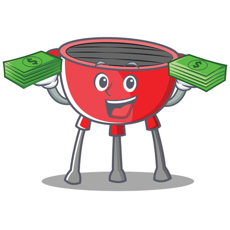Barbecue Grill Cartoon Character with money. Vector Illustration.