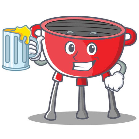 Drinking Barbecue Grill Cartoon Character Vector Illustration