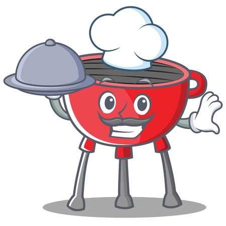 Chef Barbecue Grill Cartoon Character Vector Illustration