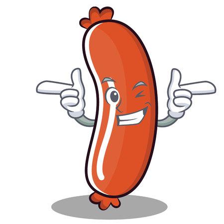 Wink sausage character cartoon style Stock Illustratie