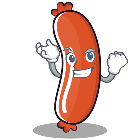 Successful sausage character cartoon style vector illustration