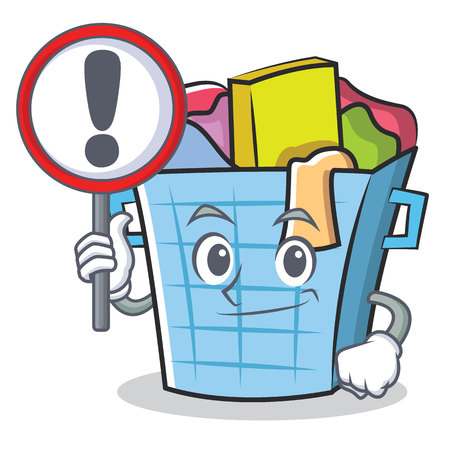 dirty clothes: With sign laundry basket character cartoon vector illustration Illustration