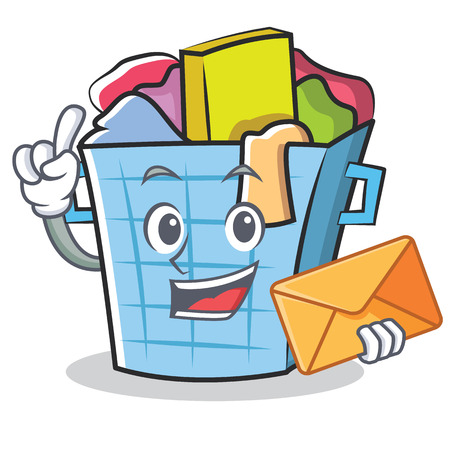 dirty clothes: With envelope laundry basket character cartoon vector illustration.
