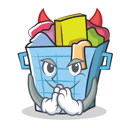 dirty clothes: Devil laundry basket character cartoon vector illustration.
