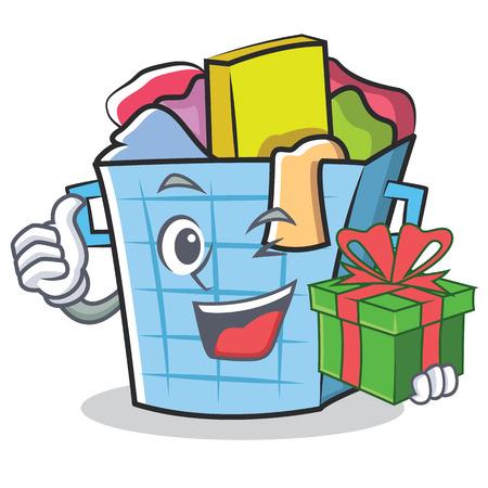Met cadeau wasmand karakter cartoon vectorillustratie Stock Illustratie