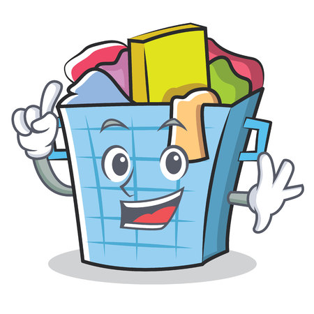 Finger laundry basket character cartoon