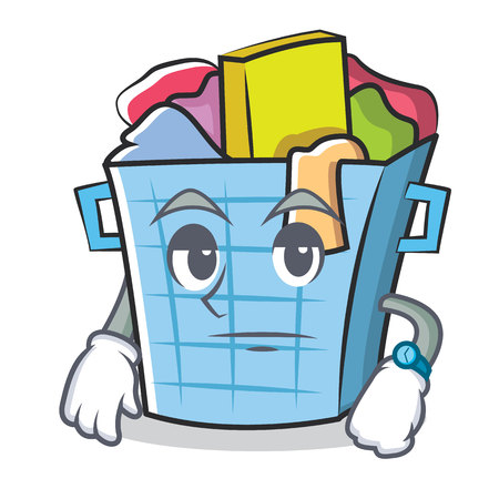 dirty clothes: Waiting laundry basket character cartoon Stock Photo