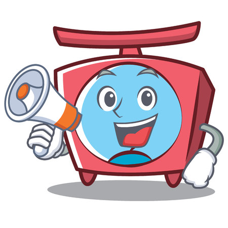 With megaphone scale character cartoon style Illustration