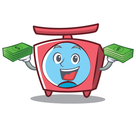 With money scale character cartoon style