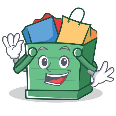 Waving shopping basket cartoon character.