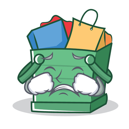 Crying shopping basket character cartoon