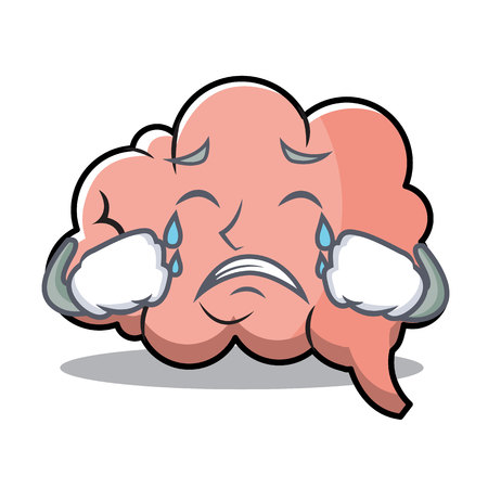 Crying brain character cartoon mascot vector illustration. Ilustrace