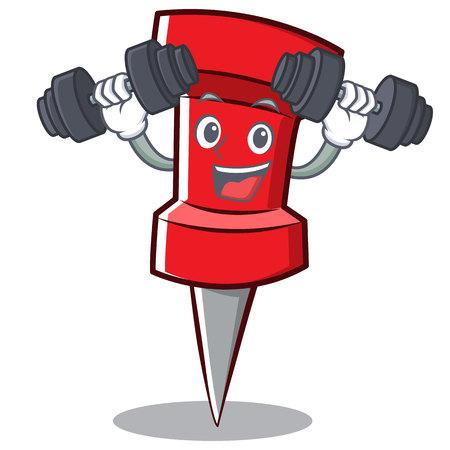 Fitness red pin character cartoon vector illustration