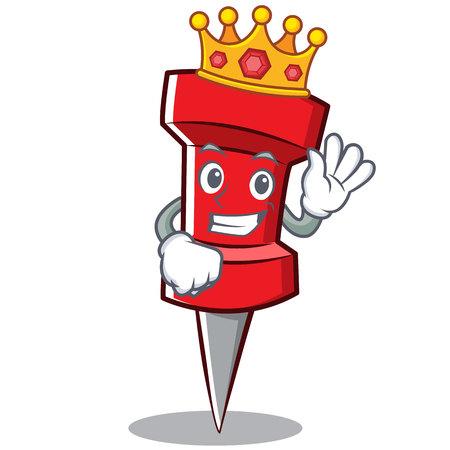 King red pin character cartoon vector illustration