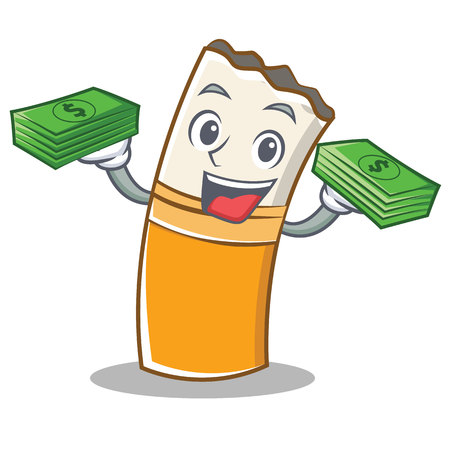 With money cigarette character cartoon style