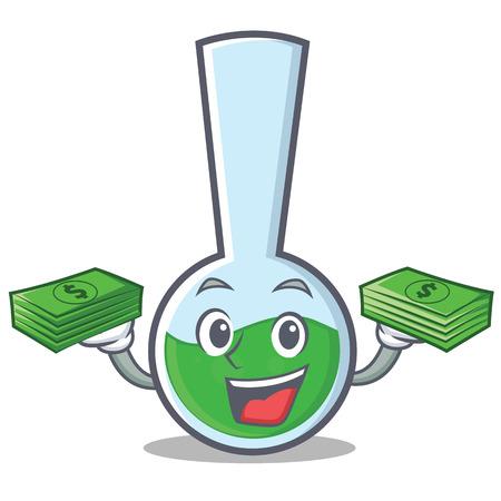 With money tube laboratory character cartoon