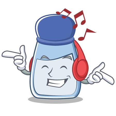 Listening music salt character cartoon style Illustration