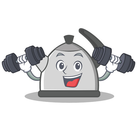 Fitness kettle character cartoon style Illustration