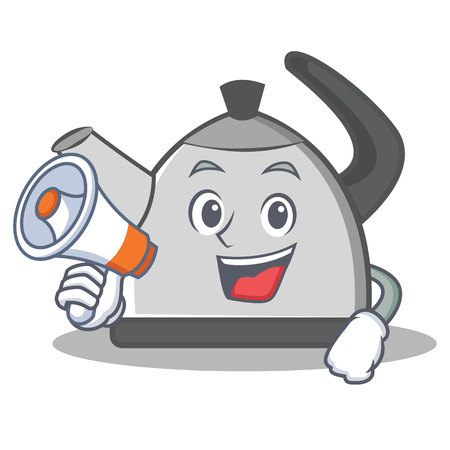 With megaphone kettle character cartoon style Illustration