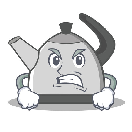 Angry kettle cartoon character. Illustration