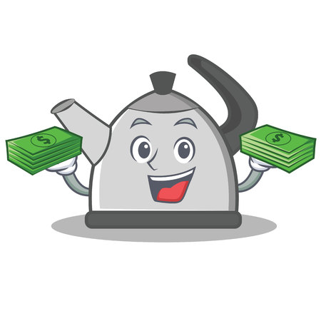 Kettle holding a money cartoon character. Illustration