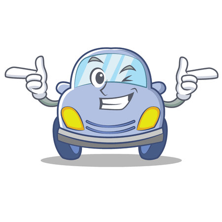 Wink cute car character cartoon vector illustration