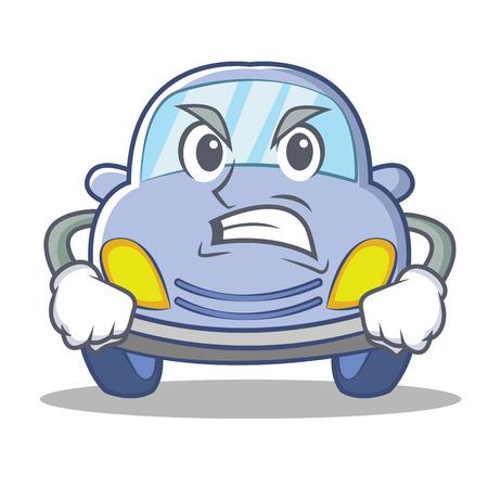 Angry cute car character cartoon vector illustration Vectores