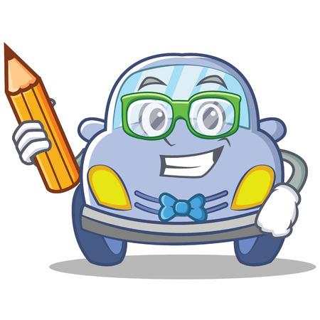 学生のかわいい車キャラ漫画ベクトル イラスト