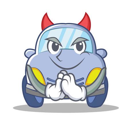 Devil cute car character cartoon vector illustration