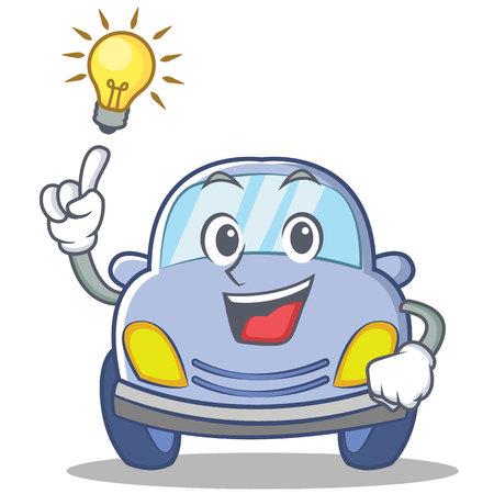 Tener una idea ilustración de vector de dibujos animados lindo personaje de coche Vectores