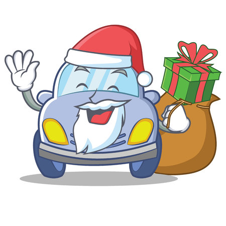 Ilustración de vector de Santa car coche personaje de dibujos animados lindo