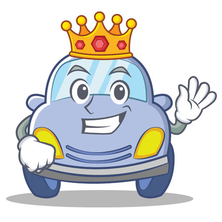 King cute car character cartoon vector illustration