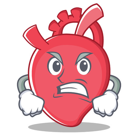 Angry heart character cartoon style vector illustration. Illustration