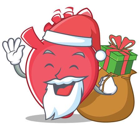 Santa heart character cartoon style vector illustration