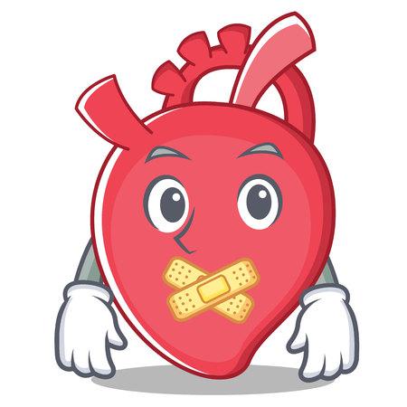 Silent heart character cartoon style vector illustration