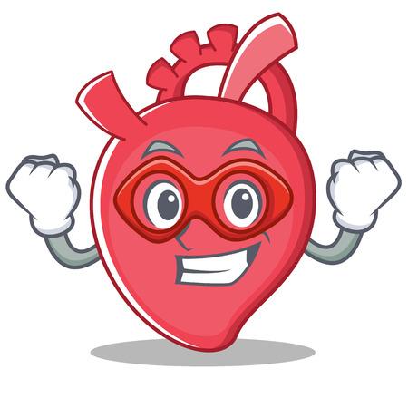 Super hero heart character cartoon style vector illustration