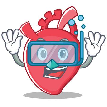 Diving heart character cartoon style vector illustration