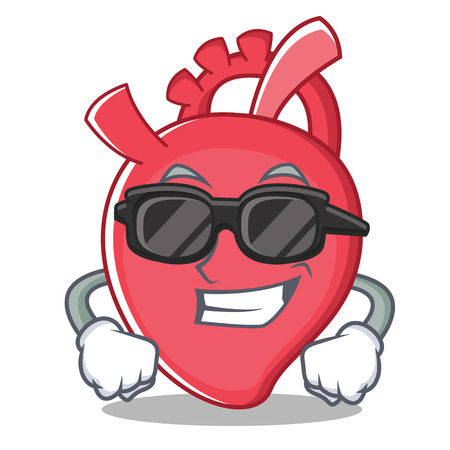 Super cool heart character cartoon style vector illustration