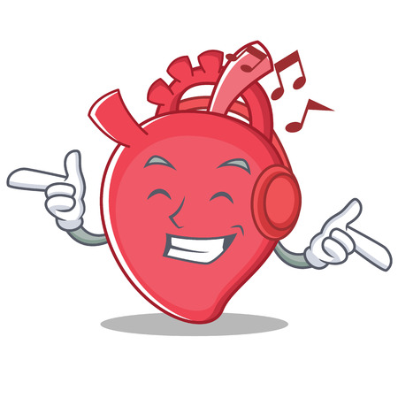 Listening music heart character cartoon style vector illustration Vector Illustration